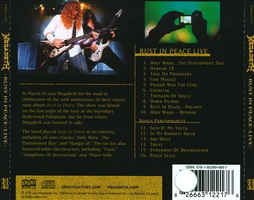 Rust in Peace Live - Megadeth   Songs, Reviews, Credits   AllMusic
