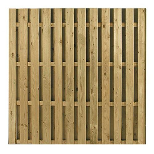A hit and miss style fencing panel otherwise known as double paling fencing 16mm Timber with 40mm gaps Tanalised Timber 6ft x 6ft £46