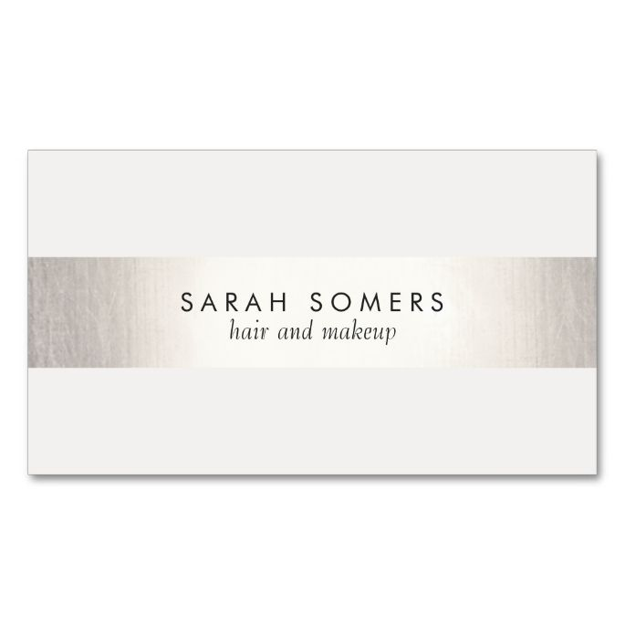 Simple White  Modern FAUX Silver Striped Double-Sided Standard Business Cards (Pack Of 100). Make your own business card with this great design. All you need is to add your info to this template. Click the image to try it out!