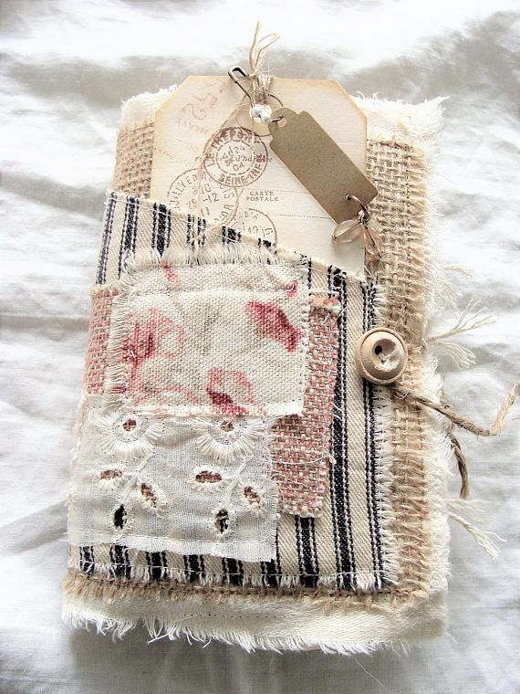 Fabric and Lace Journal Mini Vintage Junk Journal Rustic