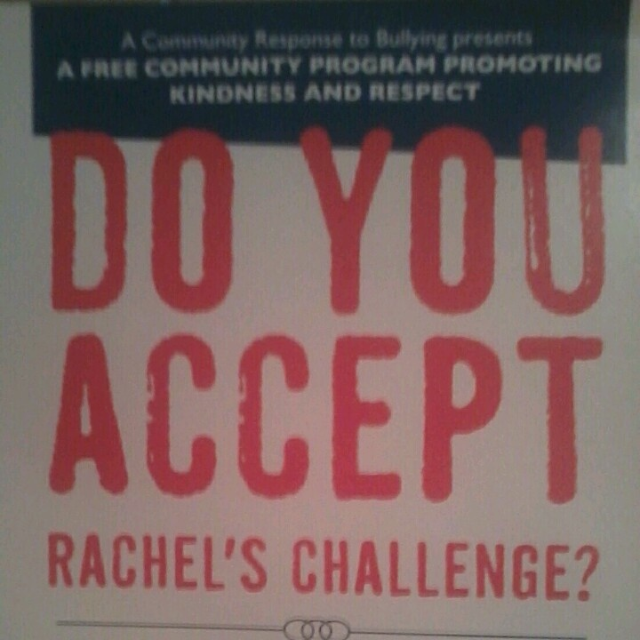 """rachels challenge her essay Tuesday after rachel's challenge program """"rachel's challenge, is a program started by her tell your class that rachel wrote an essay a month before."""