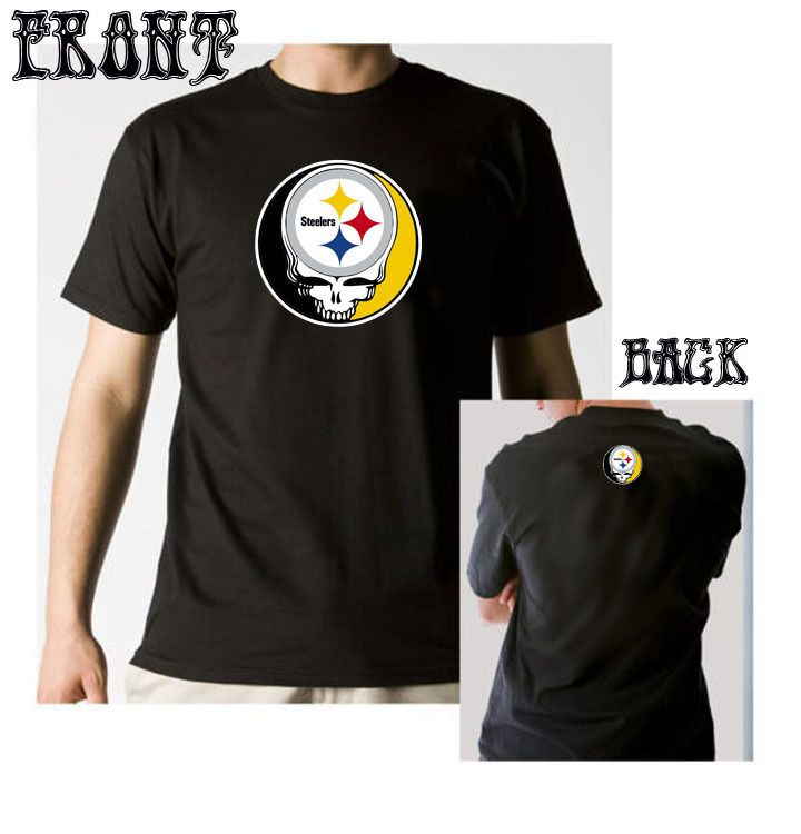 Grateful Dead inspired Steelers T-shirt Steal Your Face Pittsburgh Company Tour #Handmade #EmbellishedTee #gratefuldead #steelers #syf #dead&company #sunshine #daydream