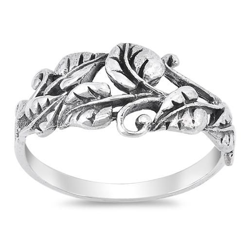 925 Sterling Silver Leaf Motif Ring