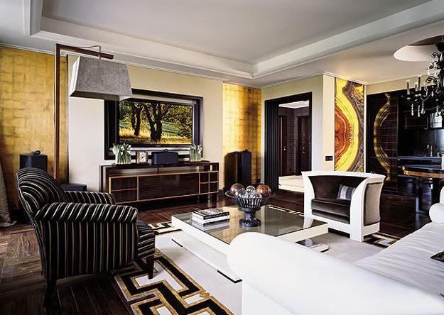 art deco interiors, modern interior design and decor, room furniture and lighting fixtures
