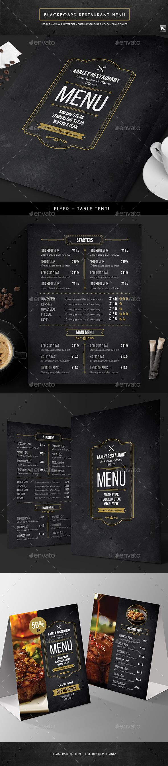 Blackboard Menu Flyer + Table Tent Template PSD. Download here: http://graphicriver.net/item/blackboard-menu-flyer-table-tent/16711712?ref=ksioks