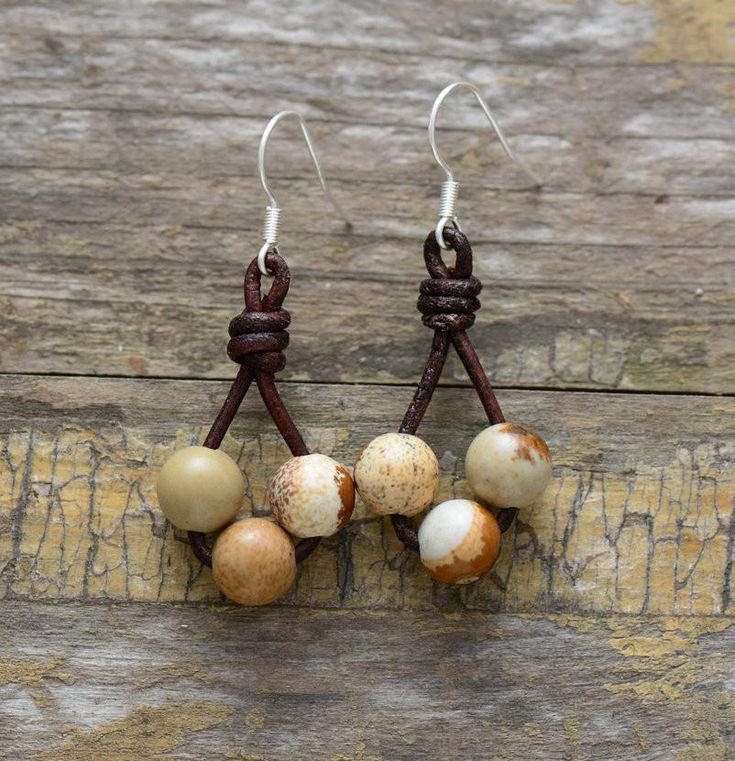 Natural Stones Leather Dangle Earrings | Handmade Bohemia Earrings | New Arrivals 2017