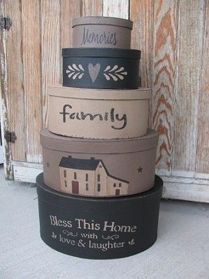 Primitive Hand Painted Bless This House Set of 5 Oval Stacking Boxes