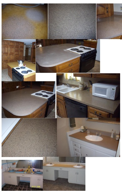 This Is A Super Simple Way To Transform Old Ugly Countertops Yourself! I  Know The Pictures Are All Cluttered But It Was The Best That I Could Do.