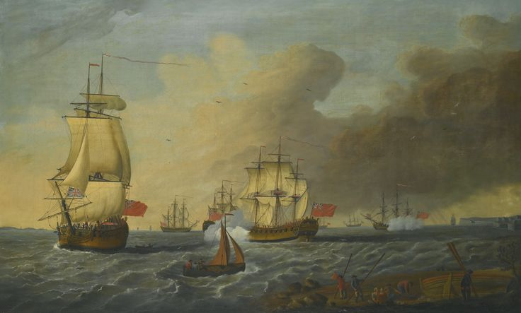 Attributed to Richard Wright of Liverpool LIVERPOOL 1735 - CIRCA 1774 BRITISH MEN O' WAR IN AN ESTUARY oil on canvas 90.8 by 148.3 cm.; 35 3/4  by 58 3/8  in.: