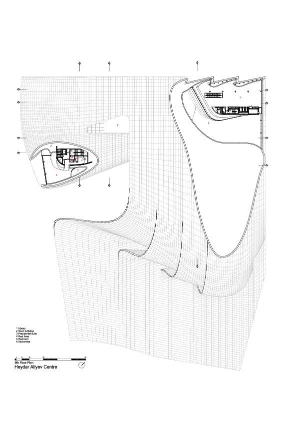 5th Floor Plan -> Heydar Aliyev Center / Zaha Hadid Architects