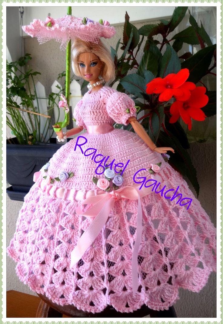 #Cléa5 #Vestido #Dress #Crochet #Sombrinha #Paragua #Umbrella Muñeca #Barbie #Doll #RaquelGaucha
