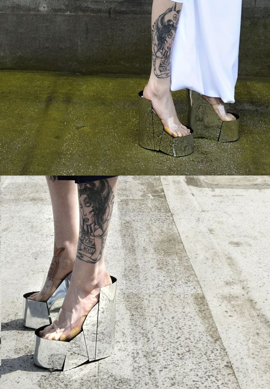 Futuristic Look, Strange Shoes, Mirror, Avant-Garde Fashion, 'UN-' Shoes by Yirantian Guo. REALLY!!!!