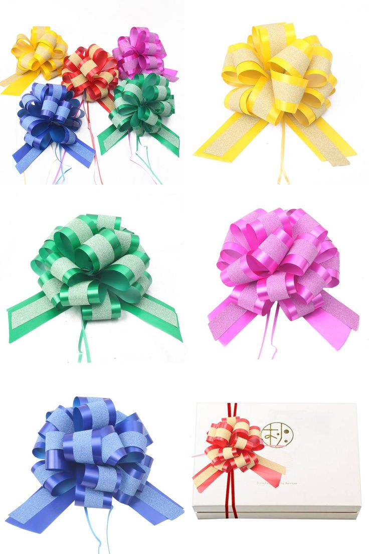 [Visit to Buy] Genie Pull Bow Flower Ribbon Christmas Birthday Home Gifts Wrapping Packing Material Wedding Car Decor Craft Pull Flowers Bows #Advertisement