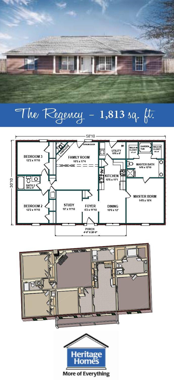 Heritage Homes Regency Model 1 800 1 900 Sq Ft Building Plans House House Blueprints Floor Plans