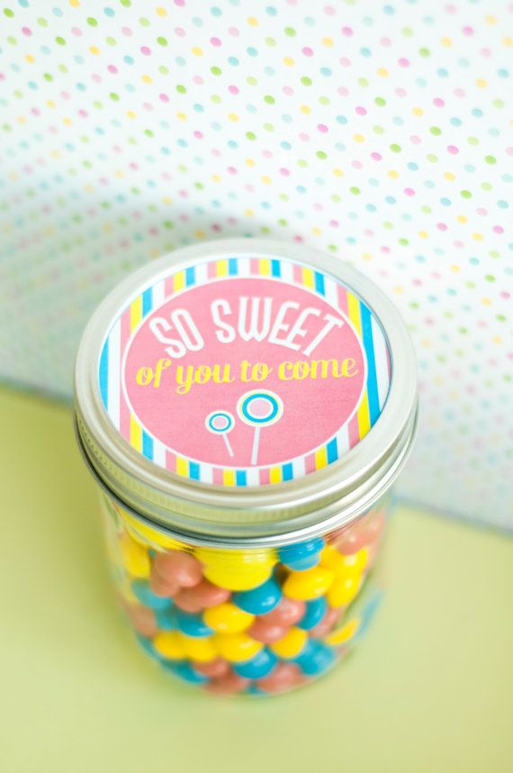 Candy Land Birthday party  party favors using mason jars  Candy Land Sweet Shop Party PRINTABLE Favor Tags by lovetheday, $8.00