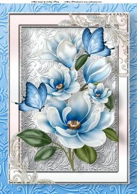 Beautiful Blue Flowers A4 on Craftsuprint designed by Amy Perry - Beautiful Blue Flowers A4 in lovely shimmer frame with butterflies, can also be seen in A5  - Now available for download!