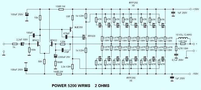 Mosfet Amplifier Schematic 5200w