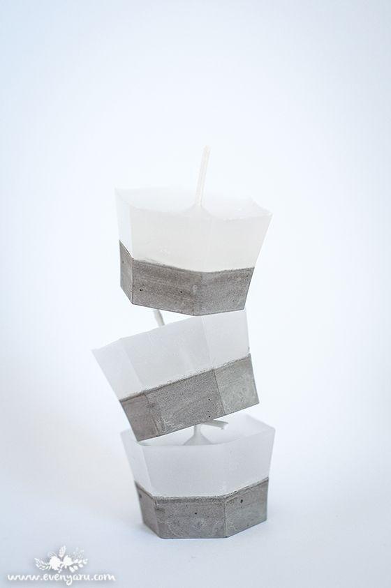DIY concrete and wax candles // www.evenyaru.com