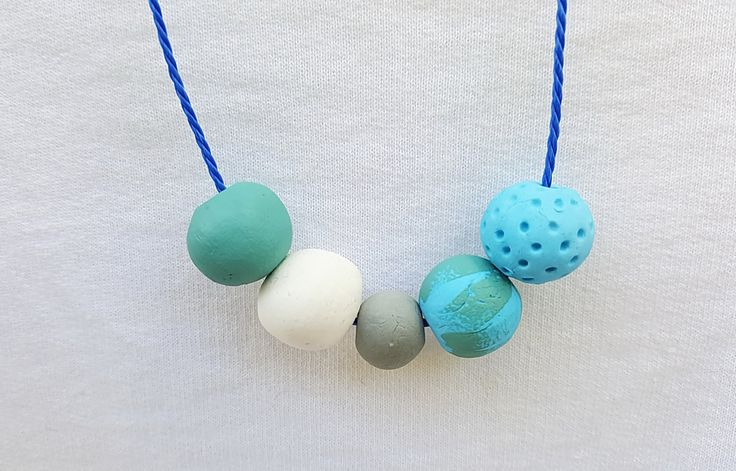 Colorful air dry clay beaded necklace, Grey blue green necklace, Air dry clay bib necklace, Geometric handmade necklace, Bohemian necklace by SpicyOrangeProject on Etsy