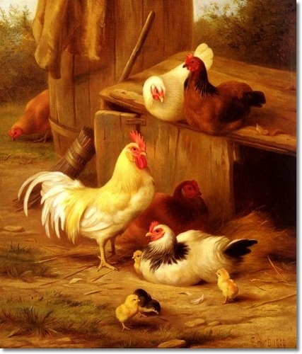 Edgar Hunt - Chickens and Chicks Painting