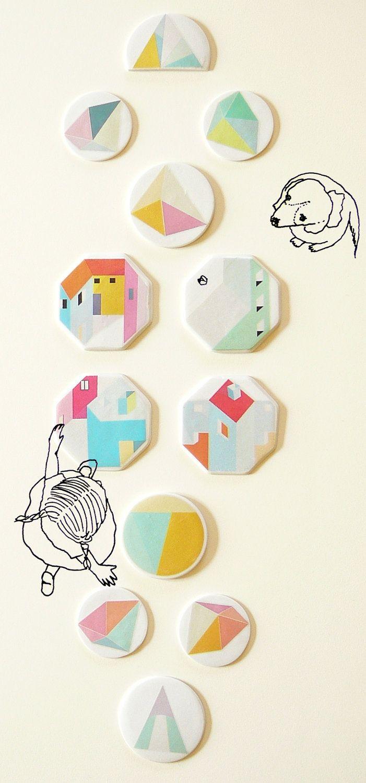 Geometric brooch porcelain jewelry by AtelierGilet by AtelierGilet, via Etsy.