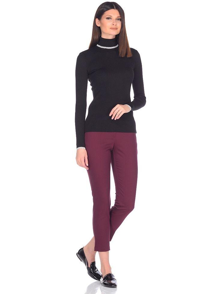WV-27113 водолазка черная с отделкой люрексом.  golf neck sweater msls black