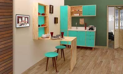 Cozinha Modulada Completa com 6 Módulos Natural/Verde - Phorman