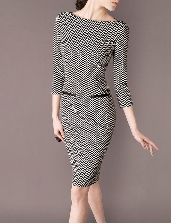 Fashion Dresses Geometric Pattern Design Boat Neck Formal Black and white Office Wear Women Outfits Working Dress Elegant Retro Style CW88 $120. Etsy.com
