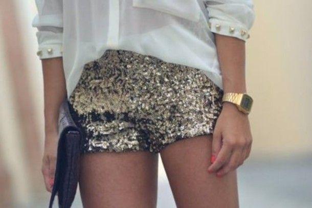 pantalones cortos pantalones cortos de lentejuelas brillan lentejuelas doradas
