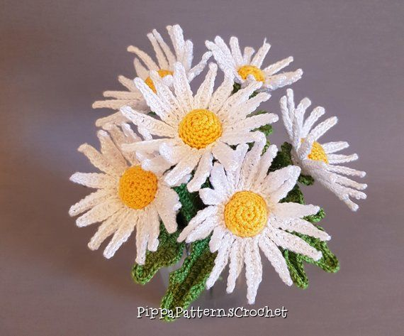 Handmade Crochet Daisy Flowers x 6
