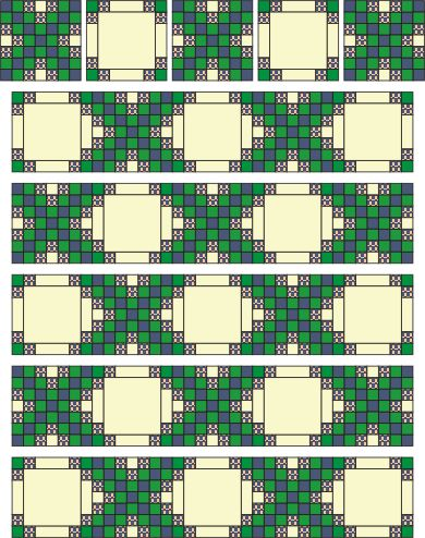Triple Irish Chain quilt: good cutting, piecing, and assembly diagrams