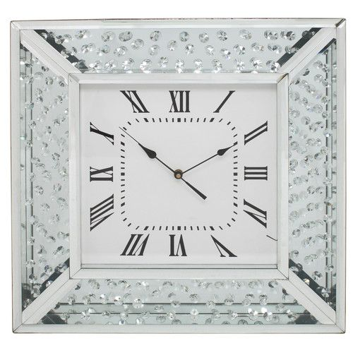 Castleton Home Winston Mirror Floating Crystal Wall Clock