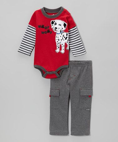 Take a look at this Red Dalmatian Layered Bodysuit & Gray Cargo Pants - Infant by Watch Me Grow on #zulily today!