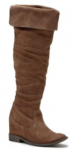 High suede brown flat boots