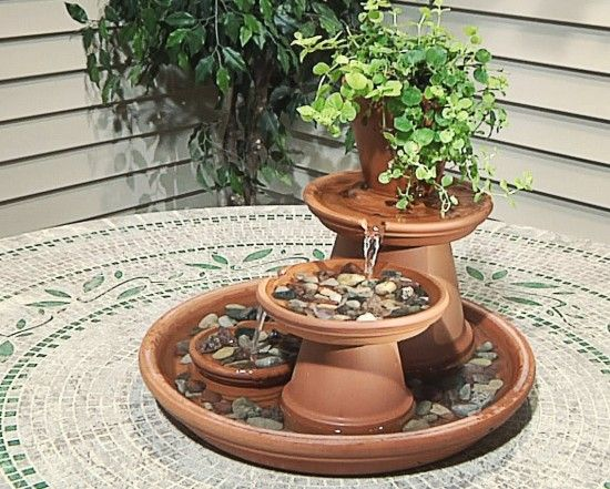 Terracotta Fountain Tutorial 1 550x441 Wonderful DIY Terracotta Pots Table Top Fountain