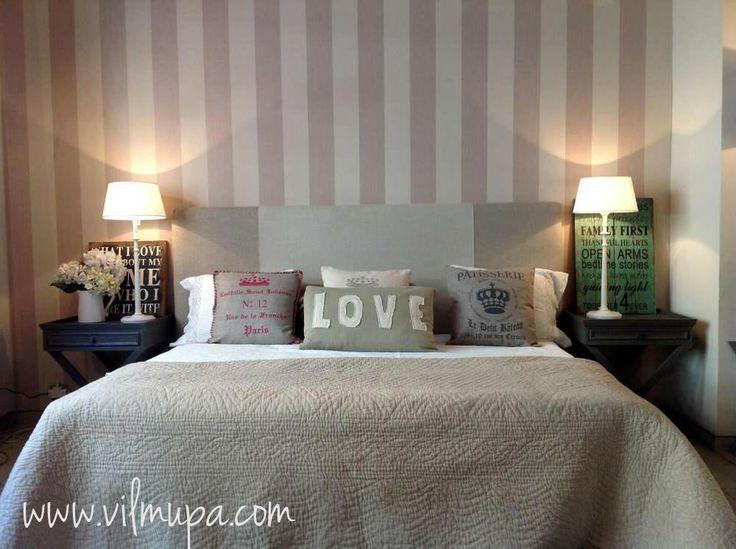 Cabecero tapizado con lino natural en dos tonos - vilmupa