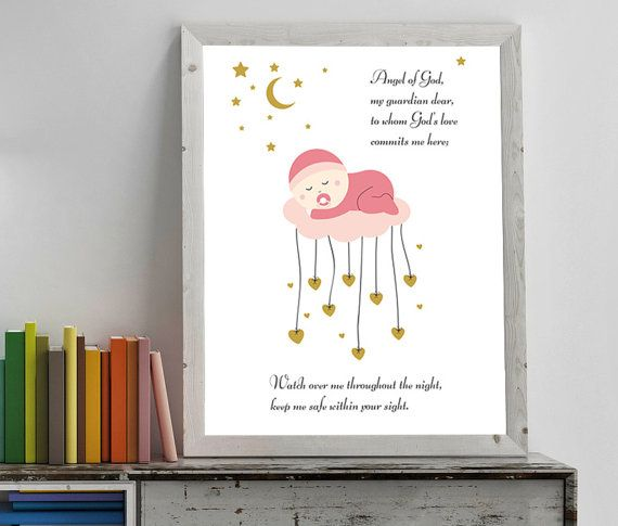 Hey, I found this really awesome Etsy listing at https://www.etsy.com/listing/499090043/nursery-decor-angel-of-god-prayer-for