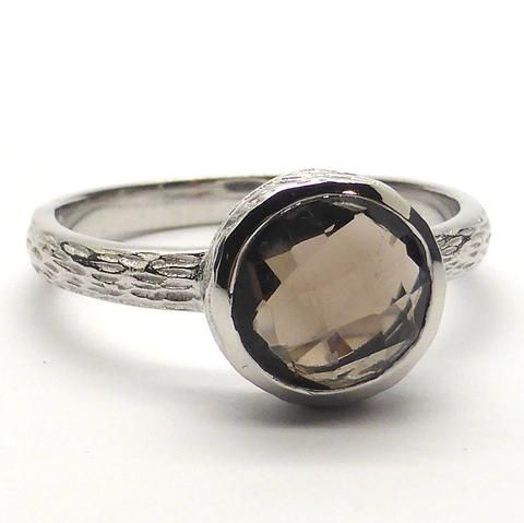 Smoky Quartz Ring Small Round Facet | 925 Sterling Silver | Dainty Ring nicely worked detail | $59.95 | Crystal Heart Melbourne Australia since 1986