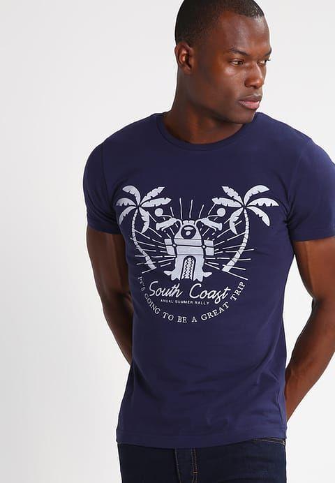 SLIM FIT - T-shirt z nadrukiem - navy - Zalando.pl