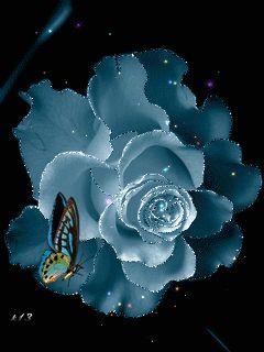 Imagenes animadas de flores con brillos y mariposas