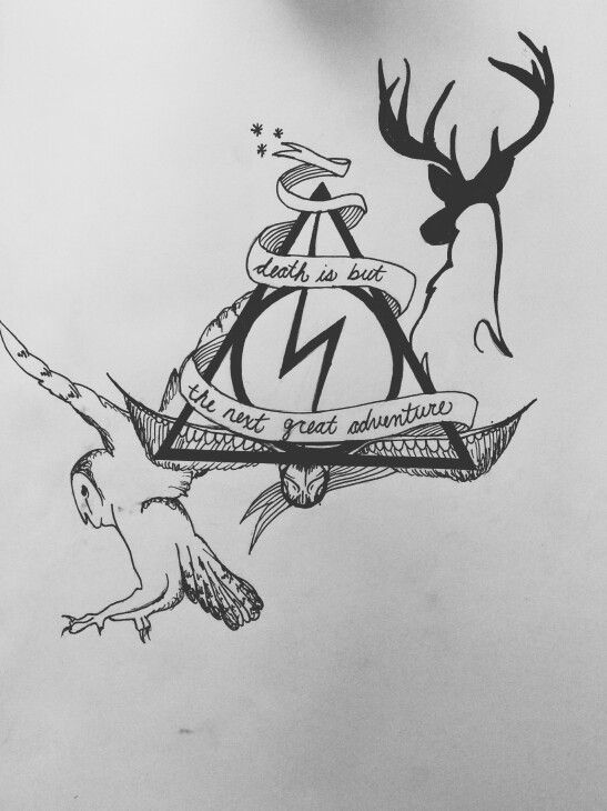 Harry Potter tattoo I made for a friend! Complete with snitch, hedwig, patronus, deathly hallows, and lighting bolt.   By Mary Katheryn Dudley