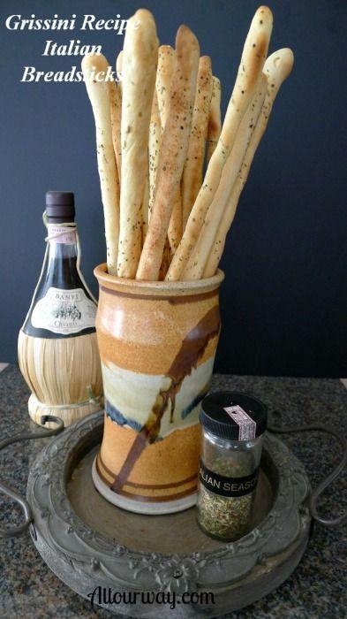 Grissini- Crunchy Italian Breadsticks recipe @allourway.com