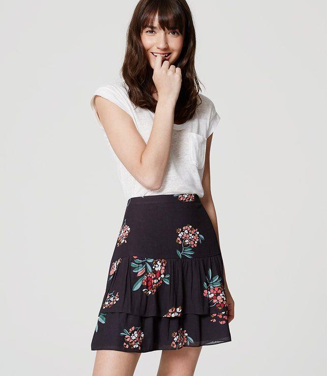 LOFT Petite Hydrangea Flippy Skirt