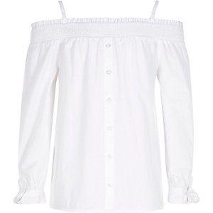 Witte bardottop met lange mouwen voor meisjes