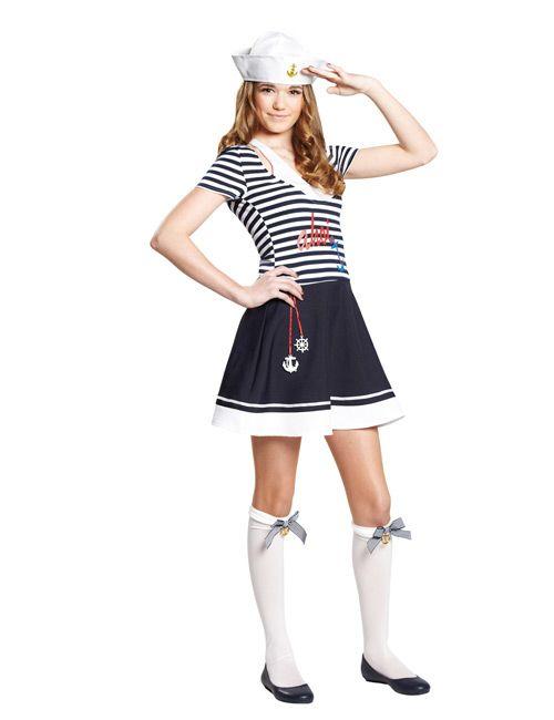 Matrosin Seefahrerin Teen-Kostüm dunkelblau-weiss - Artikelnummer: 527980000