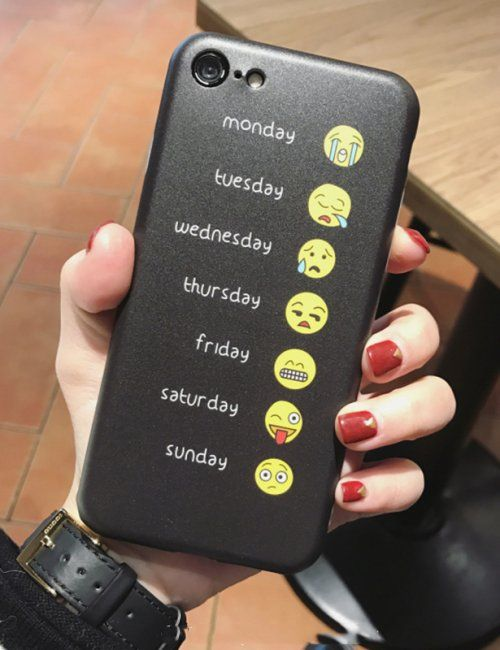 Emoji iPhone 7 or iPhone 6 Cases - A different cute emoji face for each day of the week. Cool social media and texting humor phone case. Funny gift for someone who loves text messaging or connecting with friends on social media networks. Hot Funny Emoji Face Collection Phone Case for iPhone - This is an affiliate link.