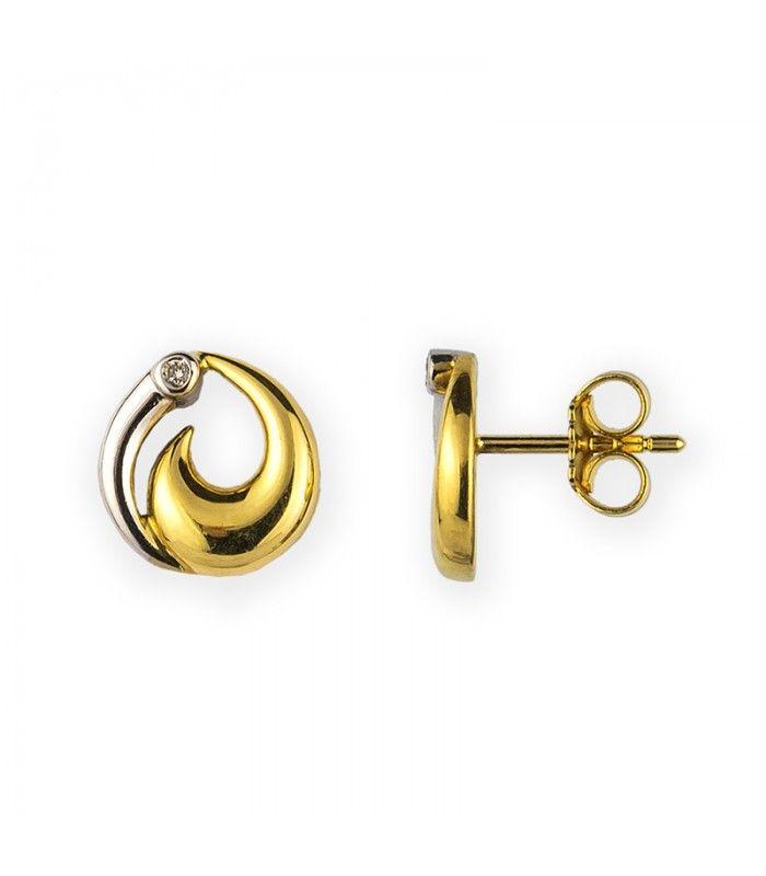 Pendientes de Oro Bicolor 18kt y Diamantes 0,03ct. Ahora disponible en subasta online. - Subastas Regent's | Joyas y Antigüedades
