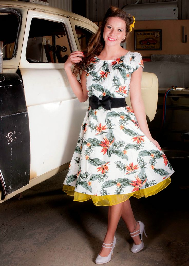 1950's Pinup Rockabilly Rocknroll Swing Dress (£24.99) Petticoat, Belt, & Hair Flower all from www.gasaxeinc.com