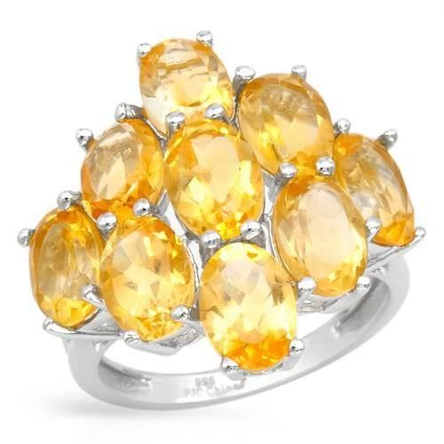 Stylish Ring With Citrines - Size 8