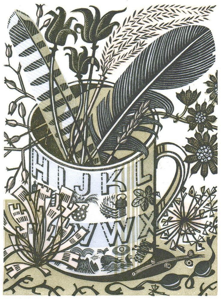 Alphabet and Feathers - wood engraving by Angie Lewin - printmaker